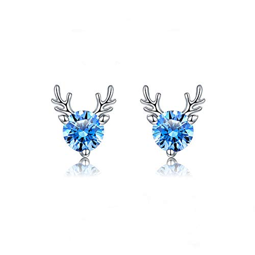 Hypoallergenic stud earrings - 18K White Gold Plated 925 Sterling Silver Small Cute Earring, 2020 New Fashion Reindeer Animal Cubic Zirconia Stud Earrings Gifts for Women Girls and Kids (Blue)