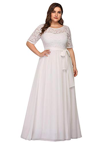 Ever-Pretty Talla Grande Vestido de Novia Encaje A-línea Imperio Escote Redondo Largo para Mujer Blanco 56