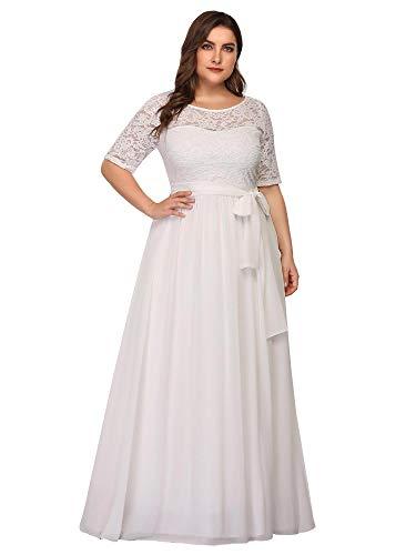 Ever-Pretty Damen Abendkleid A-Linie Spitze Spitzenkleid Kurze Ärmel große Größe lang Weiß 50