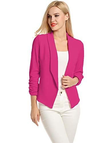 POGTMM Business Casual Clothes for Women Plus Size Blazer Cotton Blazers Cardigan (Rose Red, XXL)