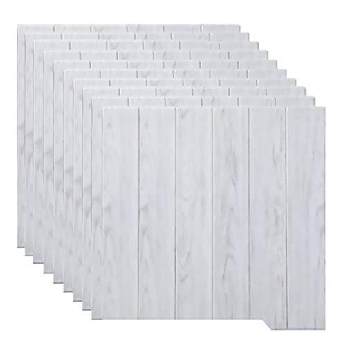 Papel Tapiz 3D Paneles De Pared De Madera Revestimiento De Pared Impermeable Espuma De PE Vetas De Madera Papel Tapiz Para Dormitorio Decoración Del Hogar Paquete De 10 (27.5 * 27.5 Pulgadas)