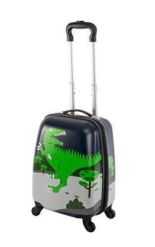 Travelhouse Happy CHILDREEN - Trolley da viaggio per bambini, disponibile in diverse misure e colori, Dino verde. (Multicolore) - TRAVELHOUSE-D6-S