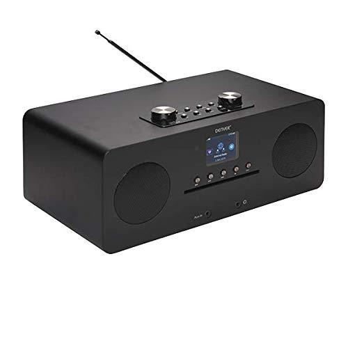 Denver MIR-260BLACK Radio mit WiFi-Anschluss und DAB+ Digitalanschluss, UKW-Analogradio, CD-Player, Bluetooth-Funktion, AUX-Eingang, 20 Watt, Kopfhörerausgang.
