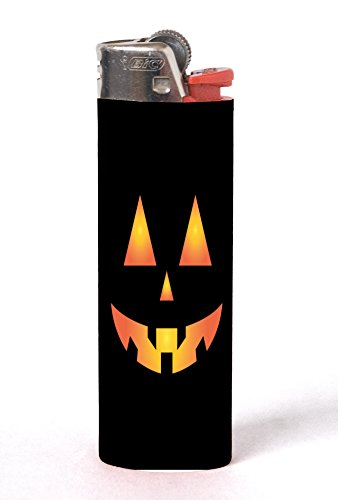 Scary Spooky Halloween Pumpkin Face 2 Pack Vinyl Decal Wrap Skin Stickers by Moonlight Printing for Bic Lighters