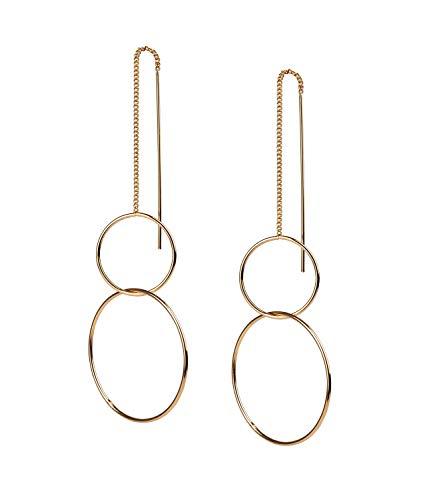 TOSH Längenverstellbare goldglänzende Ohrhänger mit zwei Ringen und Zierstäben (792-690)
