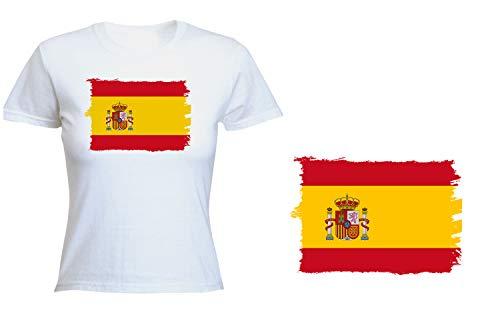 MERCHANDMANIA Camiseta Mujer Bandera ESPAÑA Pais Unido Tshirt