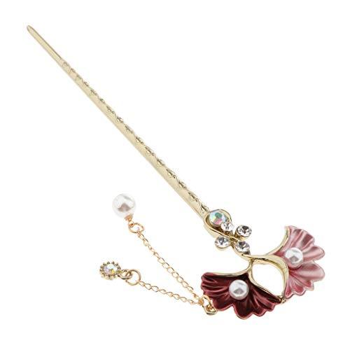 Sharplace Vintage Hair Stick Haarnadeln Haargabel Haarstab Haarnadel Ginkgo-Blatt Haarschmuck Kopfschmuck - Rosa