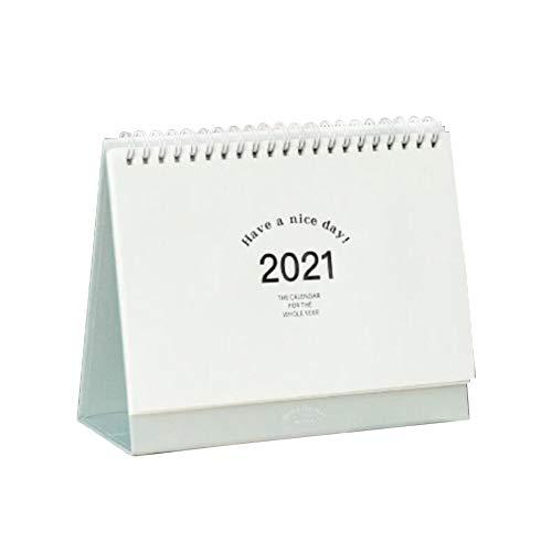 Desk Calendar, Foldable Desktop Standing Monthly Calendar Flip Type Full Year 2021 Calendar 2021 Memo Pages Twin-Wire Binding - Watercolor Ink