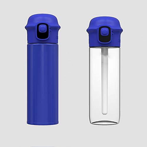 LKJJTG Botella de Agua Deportiva, recordatorio Inteligente de la aplicación para Beber Agua, LED, portátil, Doble Vaso de Agua, Vaso de vacío, Vaso de Agua a Temperatura Ambiente-Blue