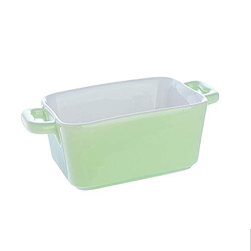 Bakeware Ceramic Cheese Risotto Double Ear Tray Square Tray Dish Oven Microwave Oven Available Plate Baking Sheet (Color : Green)