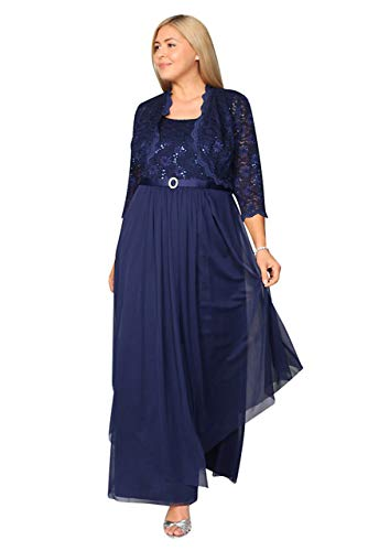 R&M Richards Long Mother of The Bride Formal Dress Navy