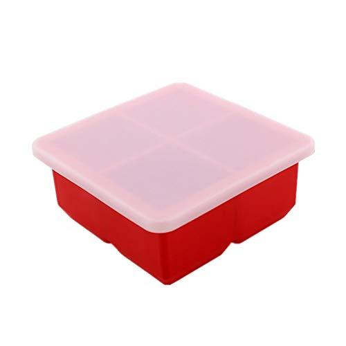 YTG 25# 4 Gitter Square Ice Maker Square Pudding Gelee Quadratische Form Eisschale Quadratische Form Silikon Eiswürfel Fach Eiswerkzeuge (Color : Red)