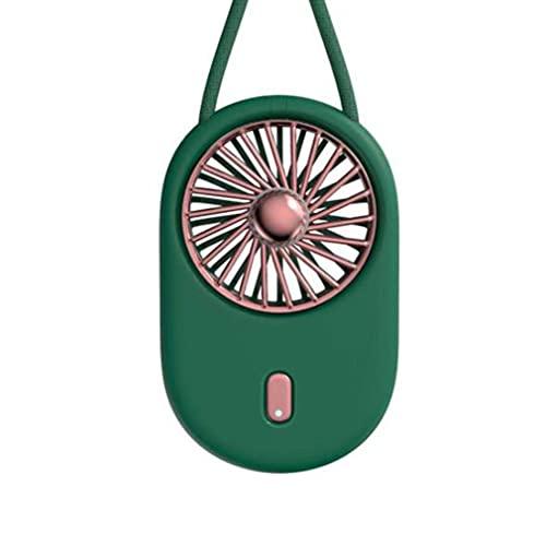 Nrew Ventilador portátil Colgante de Cuello de Verano Ventilador de Carga USB de Mano Plegable Mini Cable Verde 89 * 130 * 25 mm