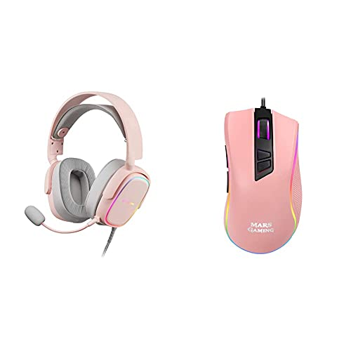 Marsgaming Mhaxp Rosa Auriculares RGB Multiplataforma con Mic Extraíble, 53 Mm HiFi + Mars Gaming Mm218 Pink - Ratón Pc Óptico 10000Dpi con Iluminación RGB, Rosa