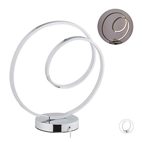 Relaxdays LED Tischlampe Kreis, Aluminium, modernes Design, LED Tischleuchte Wohnzimmer & Schlafzimmer, H: 36 cm, silber