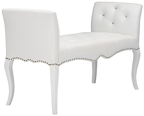 Baxton Studio Wholesale Interiors Kristy Modern & Contemporary Faux Leather Classic Seating Bench, White