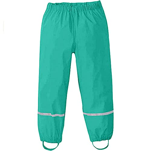 Pantaloni Impermeabili Bambino, Treer Unisex Pantaloni da Pioggia Trekking Traspirante Antivento Pantaloni di Fango per Ragazzi e Ragazze Rain Pants (86-92cm,Verde)