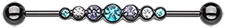 Covet Jewelry Blackline PVD Dazzling Gem Row Industrial Barbell