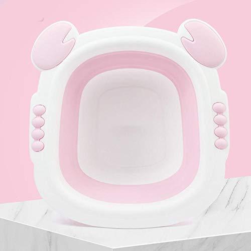 Alberta Baby-Folding Waschbecken Sink Footbath Nette Karikatur-Kinder-Waschbecken Leichte Kunststoff-Go Out Startseite Tragbarer Basin-grün (Color : Pink)