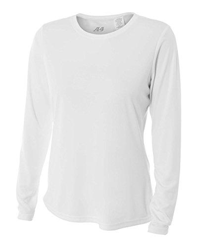 A4 Damen Cooling Performance Crew Langarmshirt, Weiß, XXL