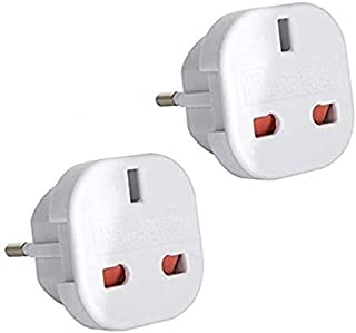 Travel Adaptor White UK to EU Europe European Q4U® Convert Power UK Plug 3 pin to European Plug 2 Pin Pack of 2