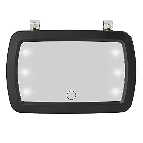 X AUTOHAUX Car Sun Visor Mirror Clip on Vanity Mirror Makeup Sun Shading Cosmetic Mirror with Touch Screen LED Lights