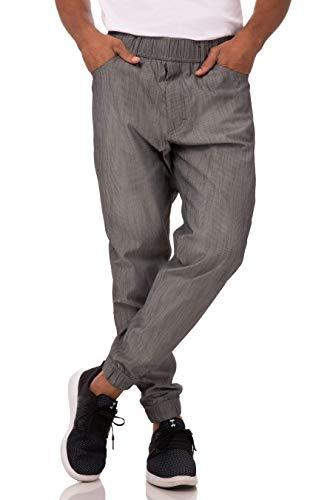 Chef Works Men's Jogger 257 Chef Pants, Black & White Stripe, Medium