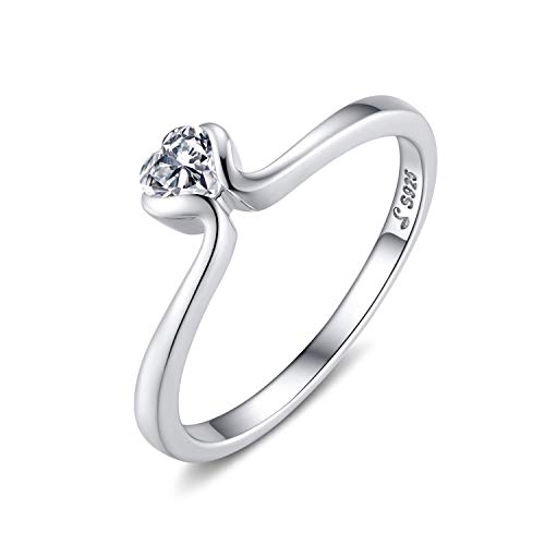 Qings Solitario Anillo Plata para Mujer, Wedding Engagement Ring for Women, ánillos de Compromiso Bodas con Zirconia Cúbica Joyería