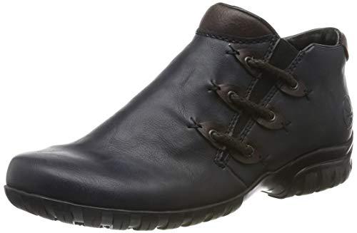 Rieker Damen Stiefeletten L4689, Frauen Ankle Boots,lose Einlage,knöchelhoch,reißverschluss,Lady,Ladies,Women's,Woman,Stiefel,blau (14),38 EU / 5 EU