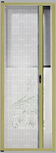 Zanzariera Universale Scorrimento Orizzontale Per Porte Portafinestra Balconi A Rullo Avvolgibile Profilo Riducibile Regolabile Telaio In Alluminio In Kit Fai Da Te Colore Oro (120 x 250 cm)