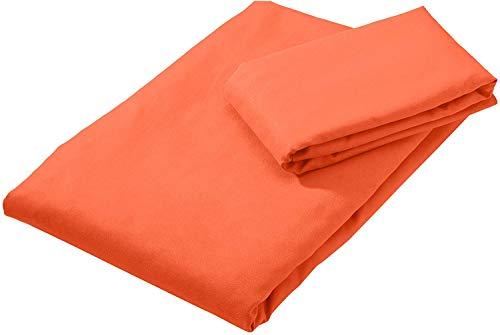 AmazonBasics Mikrofaser Sporthandtuch-Set (1 Badetuch & 1 Handtuch), orange, 180 x 90 cm (Badetuch ) 80 x 40 cm (Handtuch)