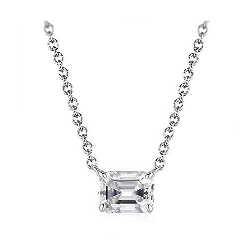 Talla esmeralda de lujo 6 * 8mm laboratorio moissanite diamantes pendent collares plata sólida 925 fino jwelry regalo de compromiso de boda
