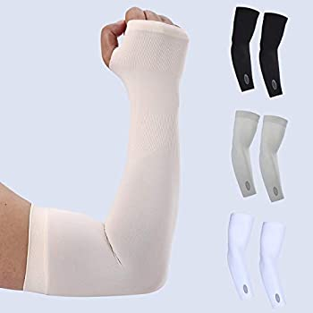 KUHNMARVIN UV Protection Cooling Arm Sleeves - UPF 50 Compression Arm Sleeves for Men/Women/Students for Elbow Brace Baseball Basketball Football Cycling Sports-Nude with Hand Cover
