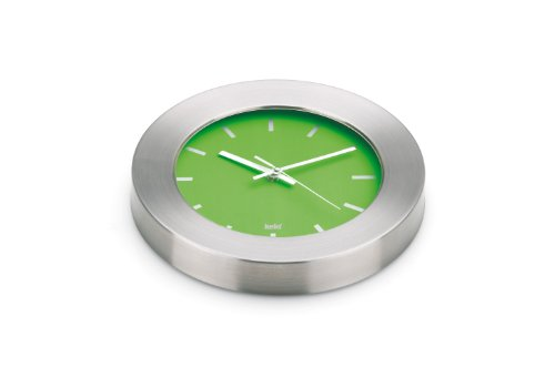 kela 17156 Kairo - Reloj de Pared (Esfera Verde), Color Plateado