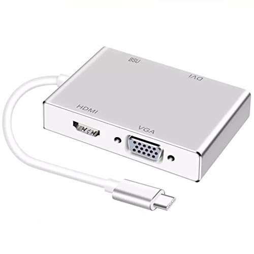 USB C Hub, 4-in-1 Portable Mini 4K HDMI USB 2.0 VGA DVI Type-C Adapter Fast Charging Plug And Play, For MacBook Pro XPS Projektor TV