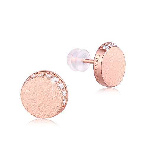 Orecchini a lobo in argento Sterling, placcati in oro rosa 18 ct, orecchini a perno a forma di disco minimalista, da indossare ogni giorno, per donne e ragazze, regalo 5 A, con zirconia cubica da 10 m