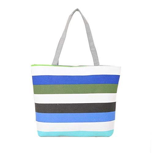 Zipvb Reusable Shopping Bags Frauen-Sommer-Strand-Schulter-Beutel-Handtaschen-Art- und Weisestreifen-Segeltuch-Tote-Reißverschluss-große Kapazitäts-Einkaufen-Beutel