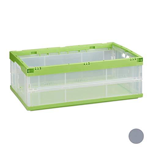 Relaxdays Caja de Almacenaje y Transporte Plegable, Plástico, Transparente-Verde, 60 x 40 x 32 cm