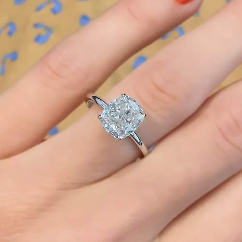 1.50Ct Cushion-Cut VVS2 Diamond Halo Engagement Ring 14k White Gold Finish