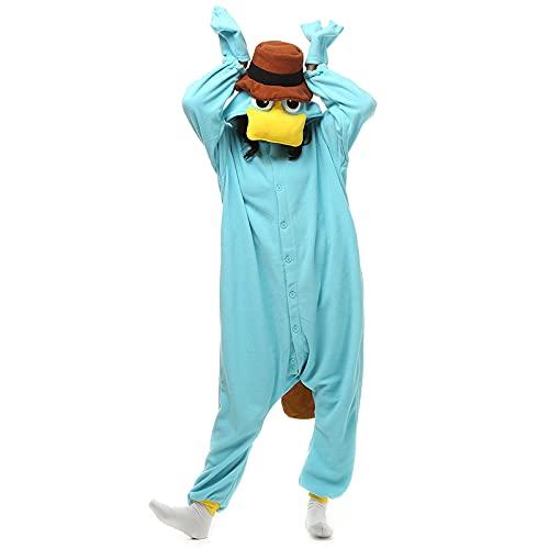 Superband Unisex Adult Platypus Onesie Pajamas Christmas Sleepwear Sky-Blue,L