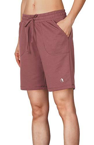 icyzone Damen Sweatshorts Bermuda Shorts Kurze Sporthose Sweatpants Einfarbig Loose Laufshorts (S, Dunkelpink)