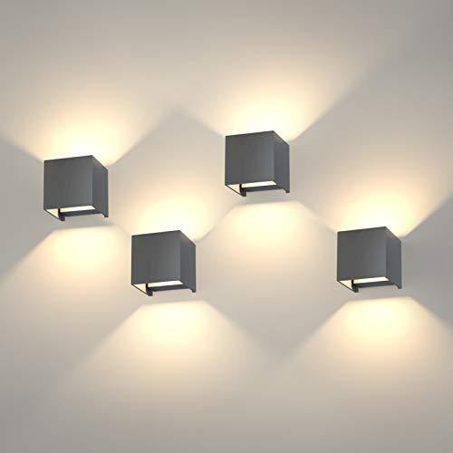 K-Bright 4 Pack 12W LED Wandleuchten, einstellbares Lichtstrahldesign, IP 65 Außenwandleuchten, Warmweiß, für Balkon, Gehweg, Wohnzimmer, Flur, Schlafzimmer, Dunkelgrau