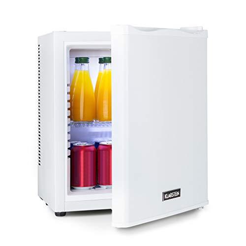 KLARSTEIN Happy Hour - Mini bar, Mini refrigérateur, Petit frigo, Mini frigo de chambre, Compression, Températures : 5-15 ° C, Compartiments de porte, Aucun bourdonnement, LED, 19L - Blanc