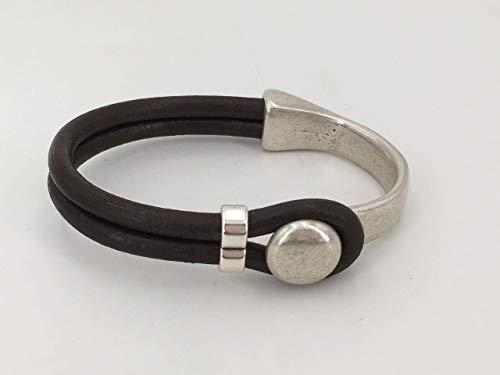 pulsera unisex hecha a mano de cuero y zamak con baño de plata, pulsera de cuero de hombre, pulsera de cuero mujer, pulsera boho