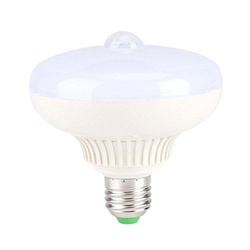 LED-lamp met infraroodsensor, E27, 12 W, nachtlampje, energiebesparend, voor toiletten, veranda, terrazzo garage trap, Corridoio veiligheid Wit