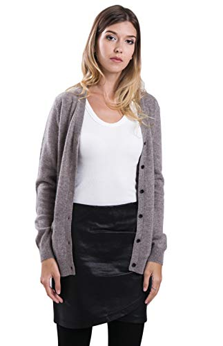 cashmere 4 U 100% Reinem Kaschmir Strickjacke Pullover Cardigan V-Ausschnitt für Damen