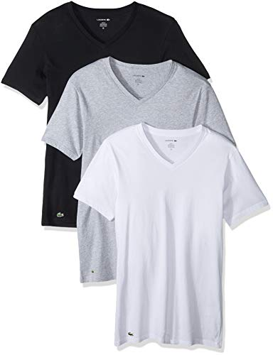 Lacoste Men's 3 Pack Slim V Neck Tee, Black/Grey/White, XL