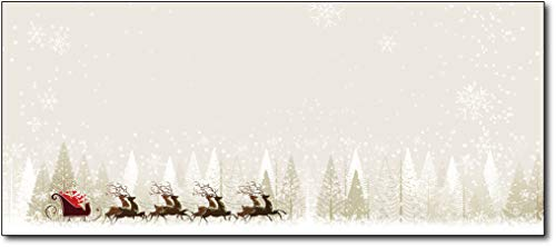 Christmas Envelopes #10 Letter Size - 80 Holiday Envelopes (Santa & Reindeer)