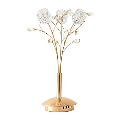 NYKK Lámpara Mesa Cristal Elegante Cromado Moderna lámpara de Mesa for el Dormitorio Mesilla de Noche decoración de la Tabla de la lámpara luz de la Noche, H 21.3' lámpara Mesilla (Color : Gold)