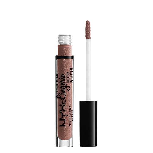 NYX Professional Makeup Lipgloss - Lip Lingerie Glitter, pflegender und nudefarbener Gloss, für unwiderstehlich glänzende Lippen, 3,4 ml, Butter 06
